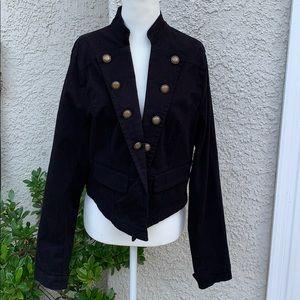 Torrid Cropped Military Black Jacket Size 1